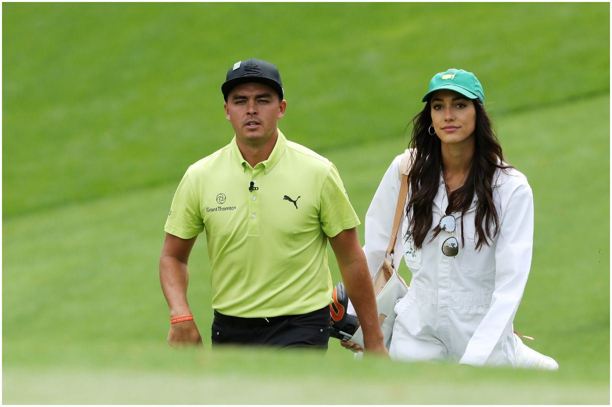 Rickie Fowler with his fiancee Allison Stokke